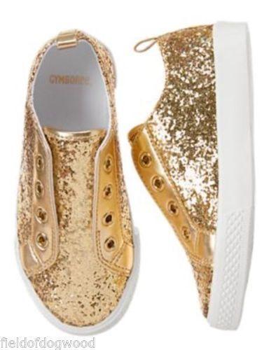 421d46481fc5 NWT Gymboree UNIFORM SHOP Girls Gold Sneakers Shoes 13 School  gymboree   sneakers