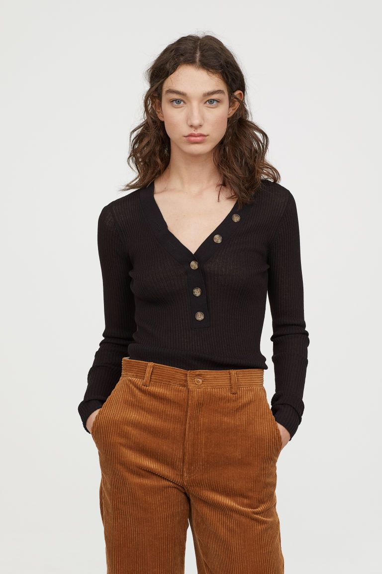 Photo of Ribbed Top – Beige – Damer | H&M USA