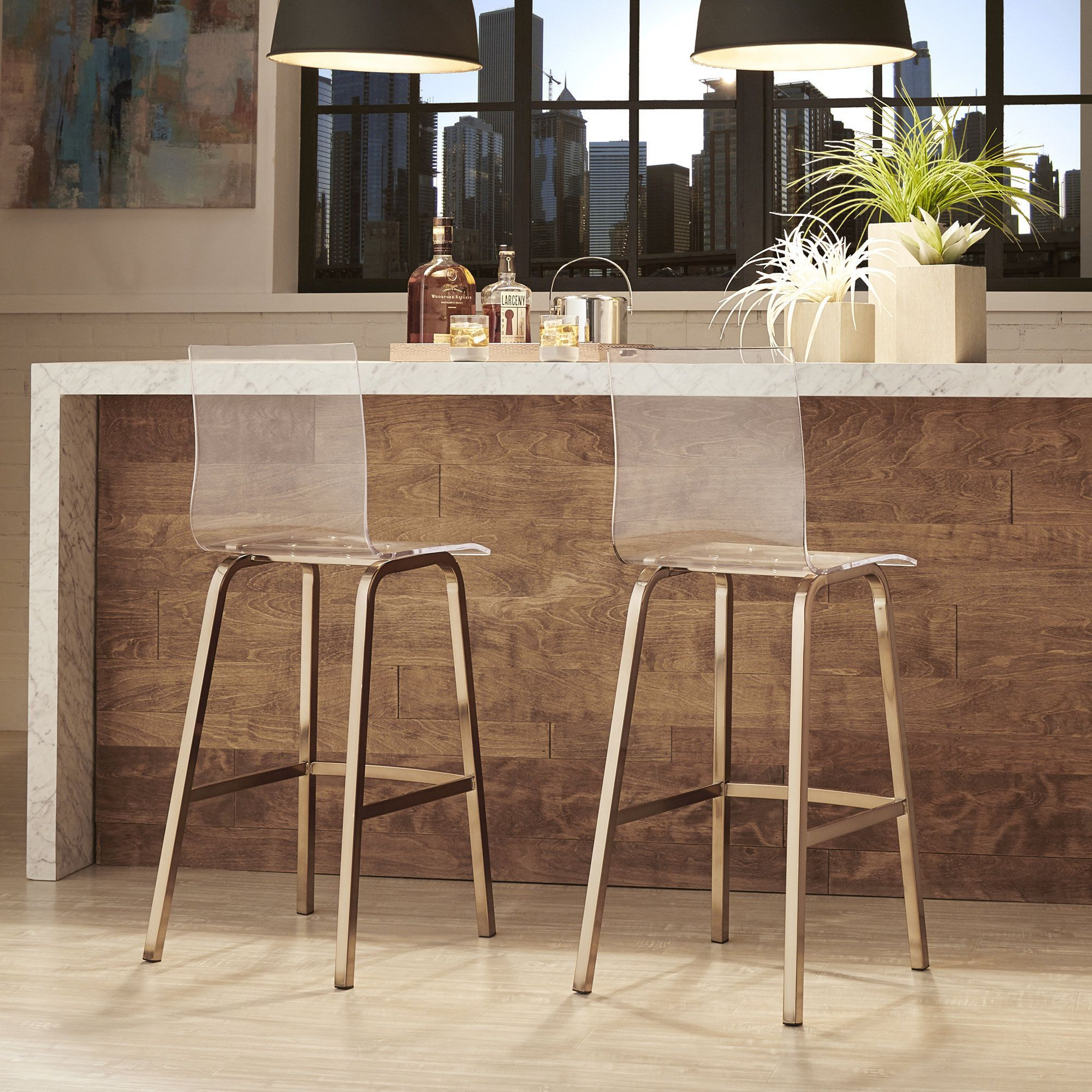 Miles Clear Acrylic Swivel High Back Bar Stools With Back Set Of