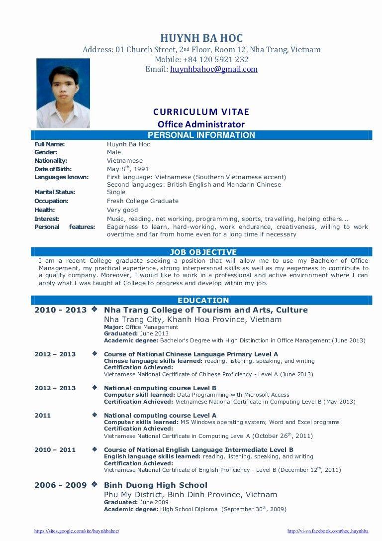 Resume in english for fresh graduate resume cover letter internship position