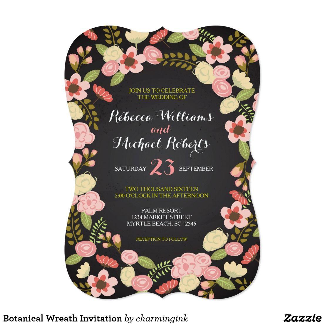 Botanical wreath invitation weddings