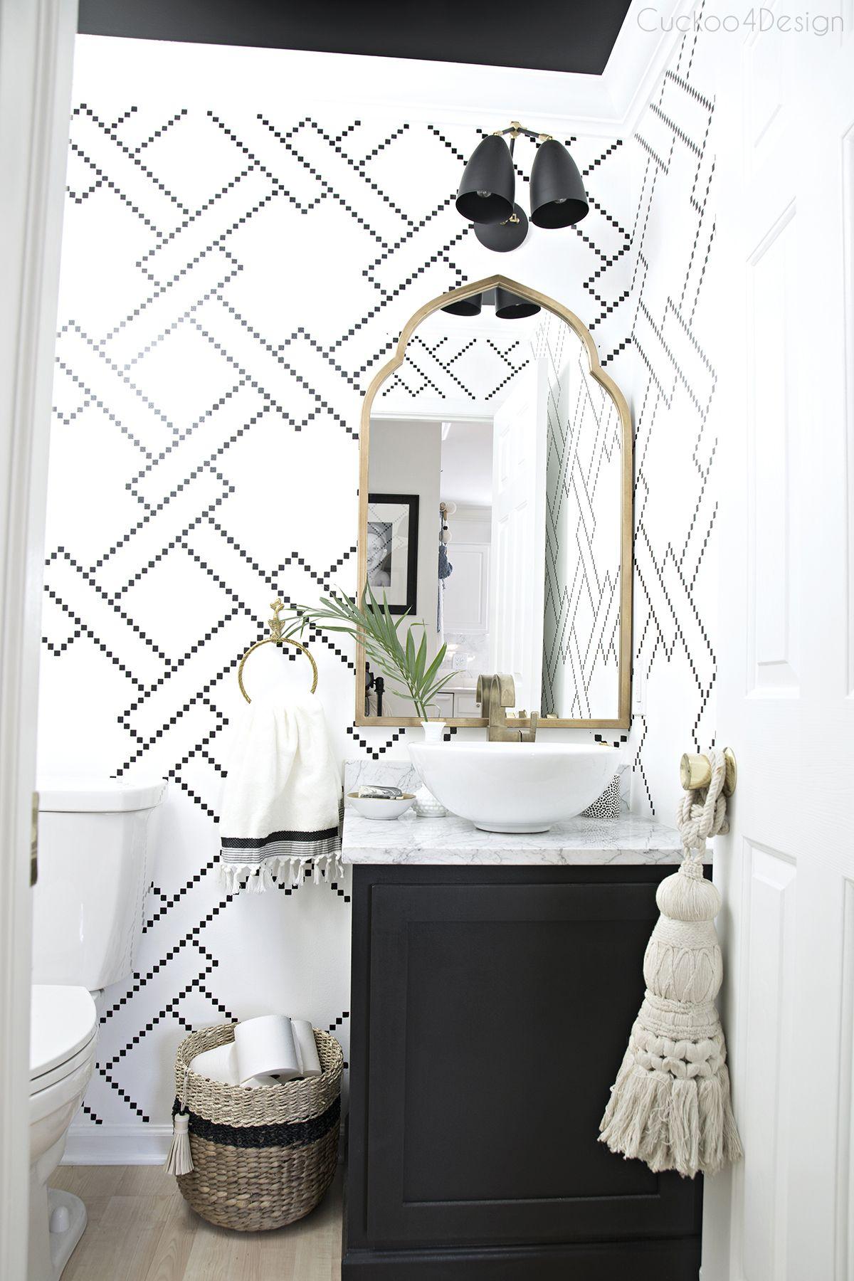 A Hint Of Fall Tour Powder Room Design Powder Room Wallpaper