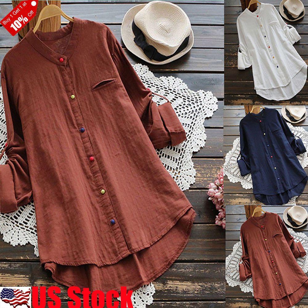 Women Long Sleeve Cotton Blouse Shirt Tunic Top Fashion Blouse Casual Size S-5XL
