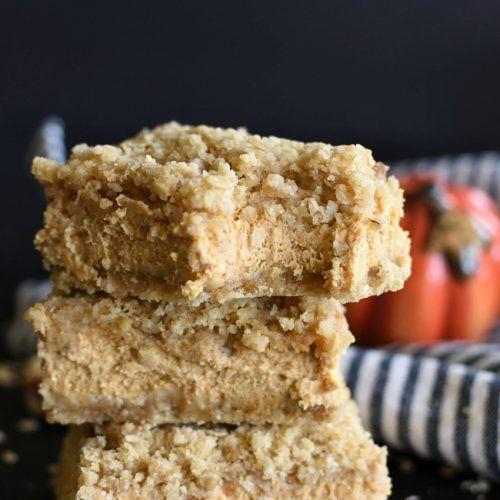 Pumpkin Cheesecake Crumb Bars - easy dessert recipe. Pumpkin spiced cheescake layer, sandwiched between two oatmeal crumb crusts!