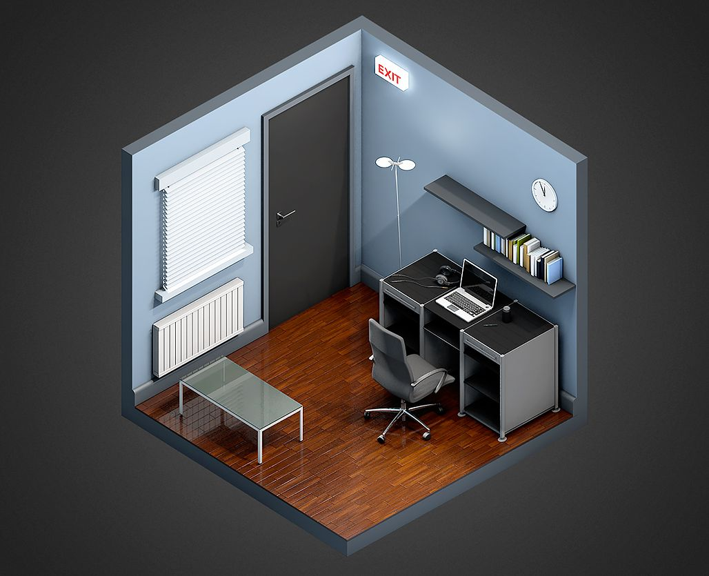 Irobot Office By Quentin Fevre With Images Isometric Design