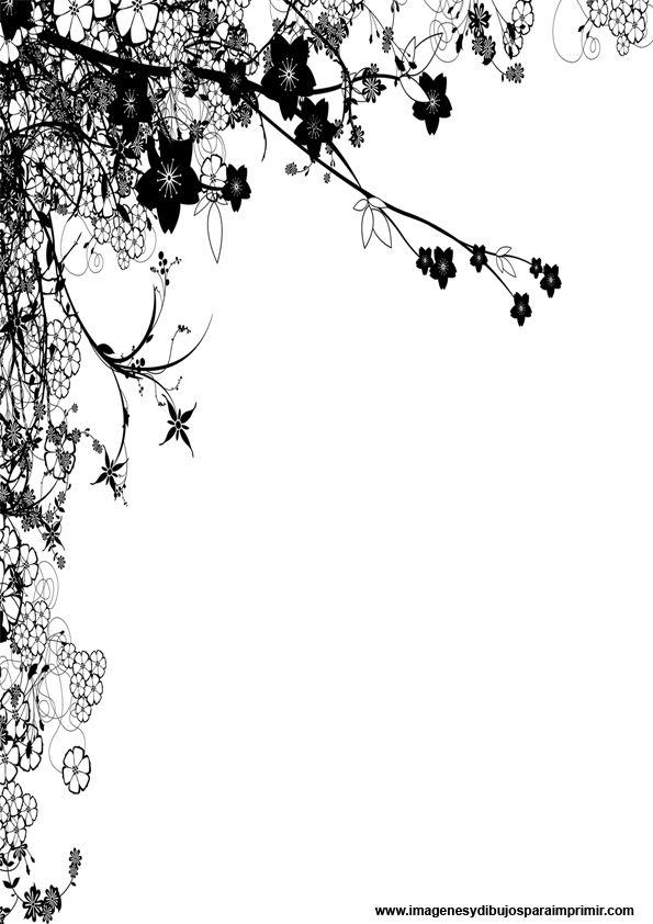 margen decorado con flores | En blanco | Pinterest | Hoja, Marcos y ...