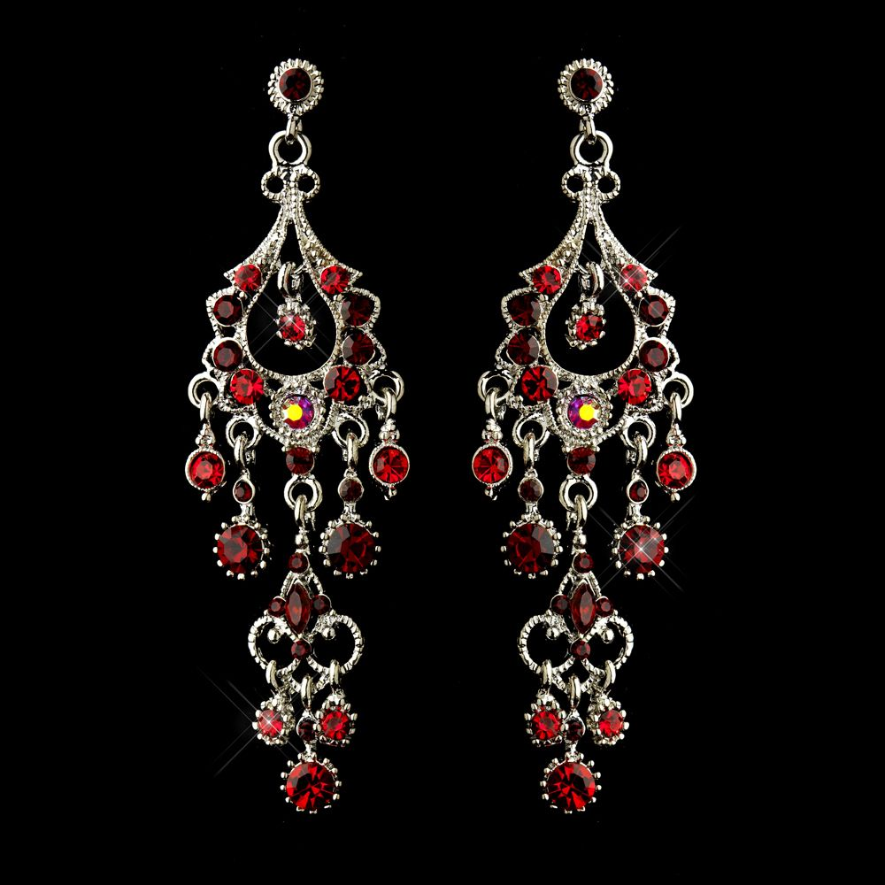 Red chandelier formal earrings in antique silver red chandelier red chandelier formal earrings in antique silver arubaitofo Gallery