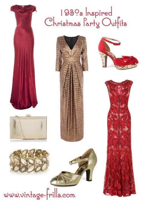 1930s Inspired Christmas Party Outfits | vintagefrills I love the red lace  one. - 1930s Inspired Christmas Party Outfits Vintagefrills I Love The