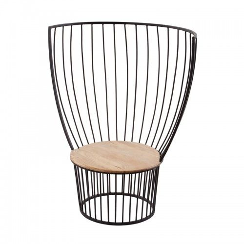 Indoor Outdoor Teak Iron Cage Back Chair Chairs Lounge