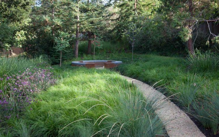 gramines et arbres entourent lalle de jardin gravillonne