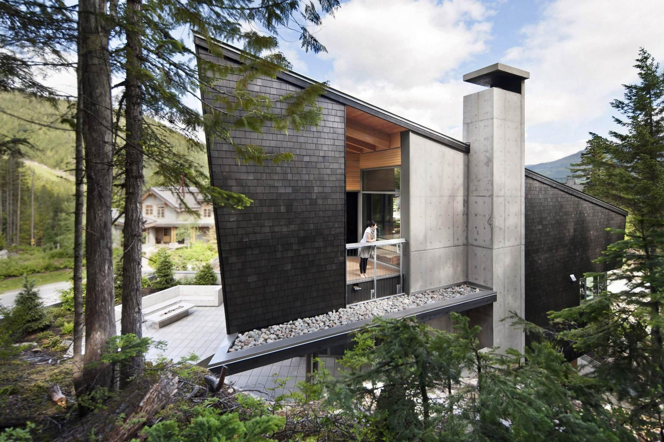 House · Unique Modern House In Forest Design Stone ... Good Looking