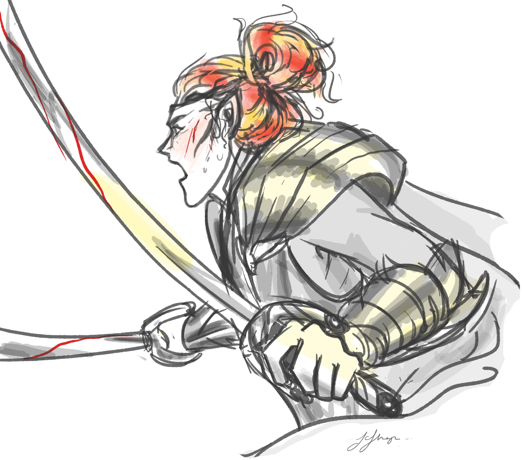 Maedhros with battle hair by frecklesordirt.deviantart.com on @DeviantArt (For some reason this makes me grin. Of course Maedhros would be practical and wear his hair in a bun xD)
