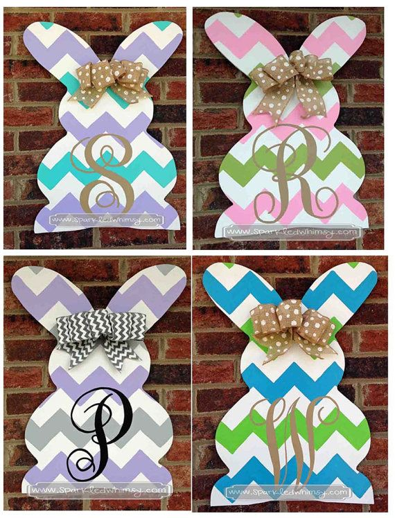 Monogrammed Chevron Easter Bunny Door Hanger By