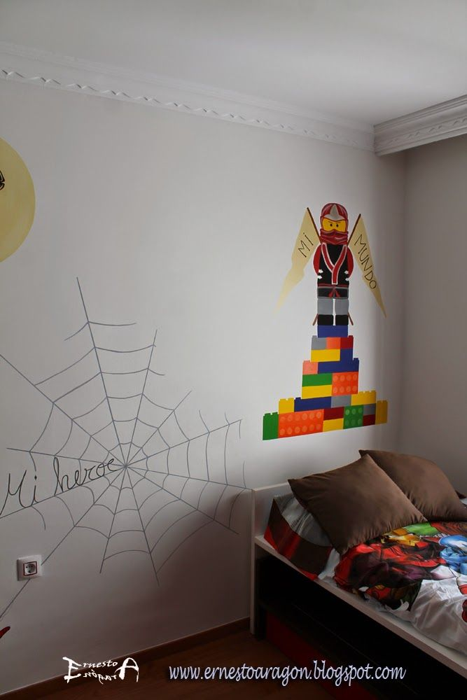 Spiderman y el samurai de lego en una cama nido for Cuartos decorados hombre arana