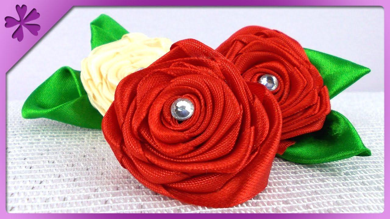 Diy Ribbon Roses Eng Subtitles Speed Up 85 Diy Ribbon Ribbon Roses Diy Projects