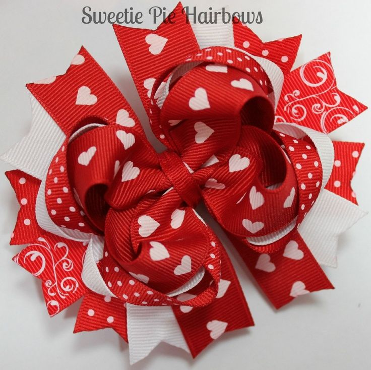 red valentine's hair bow hairbow