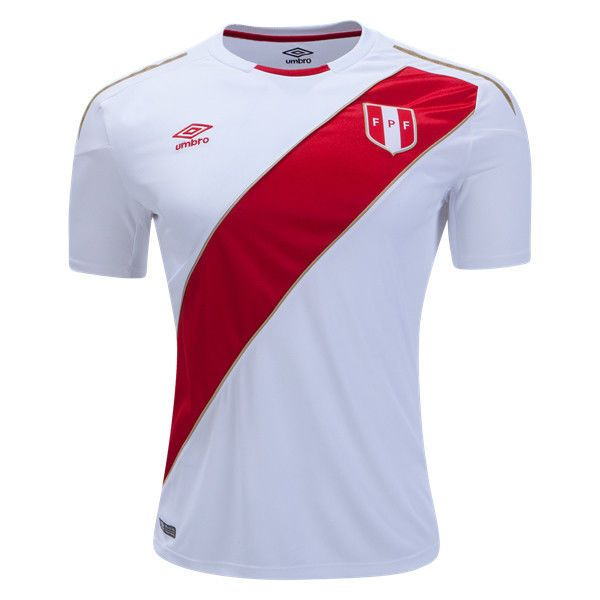 Umbro Peru Home Official Soccer Jersey World Cup 2018  White Red Gold-uum190139u 70f2d709d