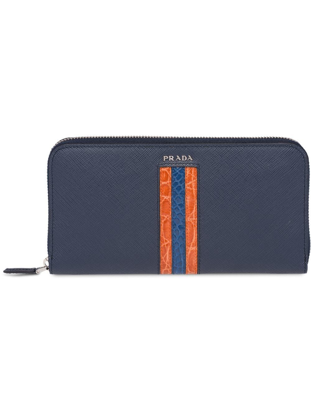 ff61ca710ea9 PRADA PRADA SAFFIANO AND CROCODILE LEATHER WALLET - BLUE. #prada ...