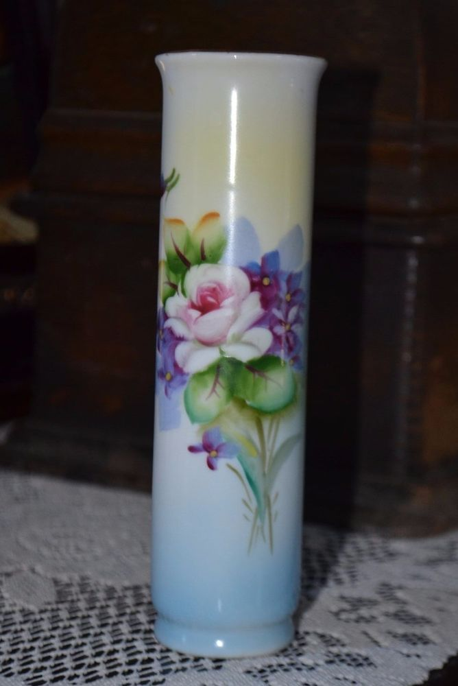 Vintage Lefton China Bud Vase Tones Of Blue Yellow Purple Hand