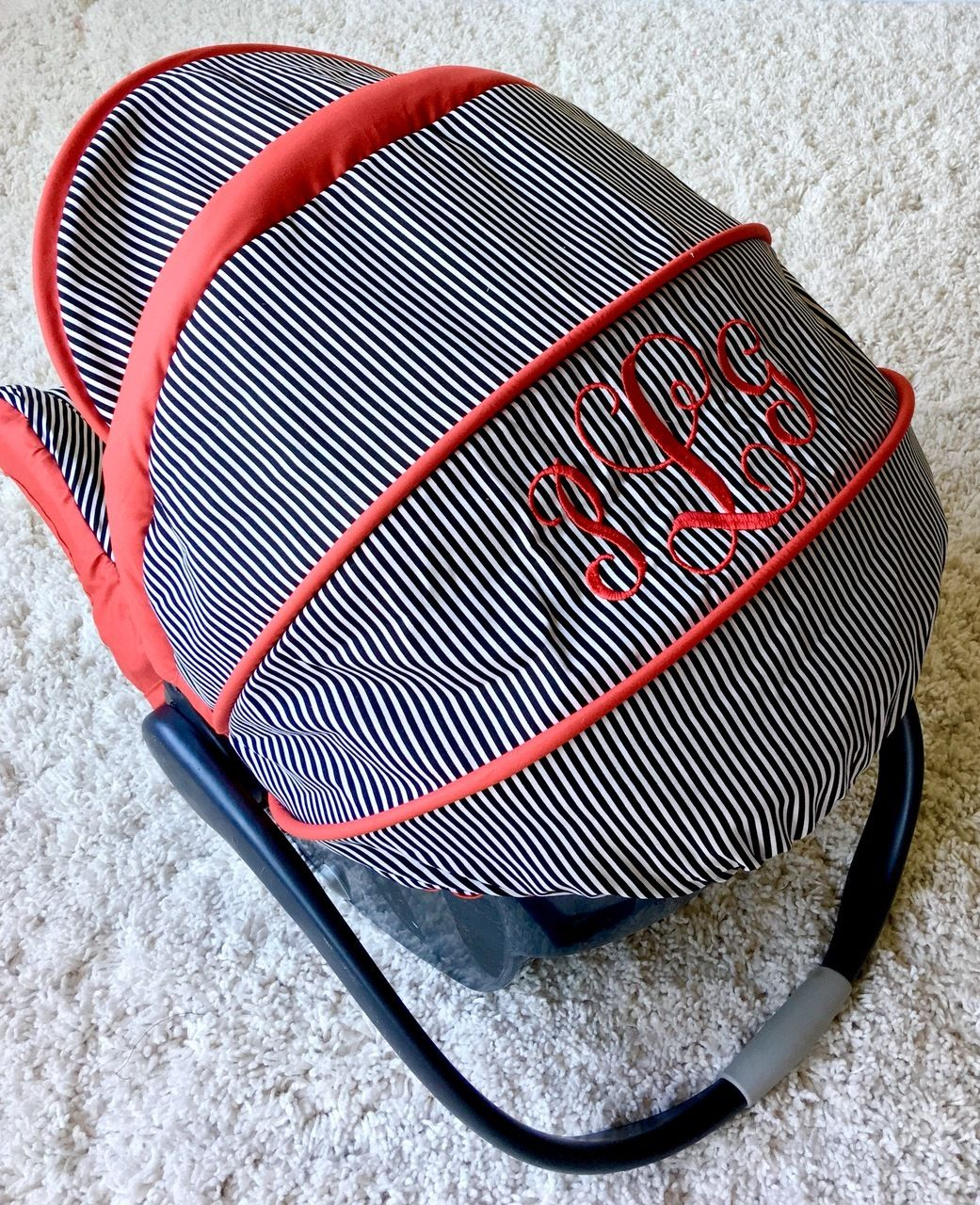 Black and White Pin Stripe and Red Custom Infant Car Seat Cover ...