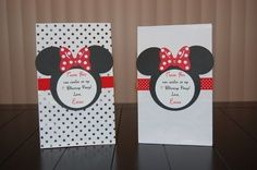 mickey mouse birthday goody bags | Personalized Mickey And Minnie Mouse Black Polka Dot Party Invitations ...