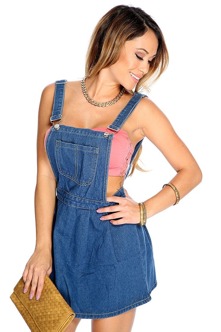 Blue Denim Overall Skirt Outfit