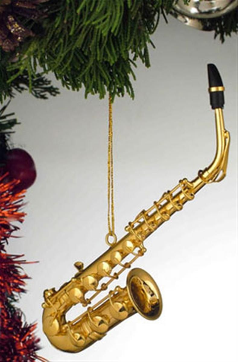 Violin christmas ornaments - Music Saxophone Gold Musical Instrument Ornament New