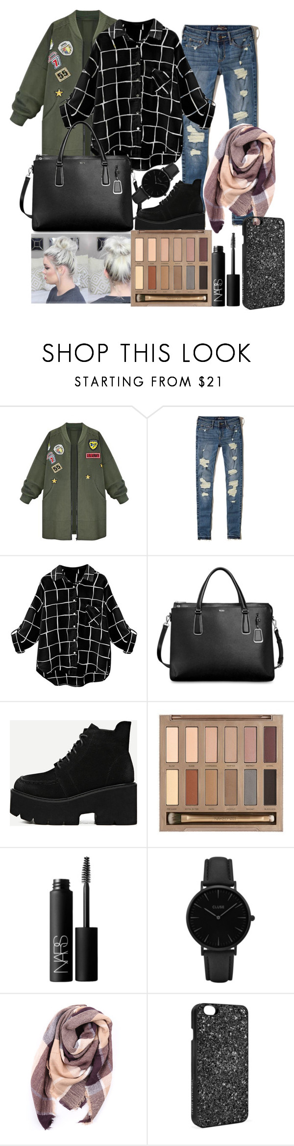 """""""Yaass"""" by kostenishe ❤ liked on Polyvore featuring WithChic, Hollister Co., Tumi, Urban Decay, NARS Cosmetics, CLUSE, Everest and Victoria's Secret"""