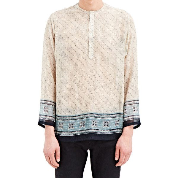 Saint Laurent Indian Print Tunic Shirt ($265) ❤ liked on Polyvore featuring men's fashion, men's clothing, men's shirts, beige, yves saint laurent mens shirt, mens print shirts, indian mens clothing and mens patterned shirts