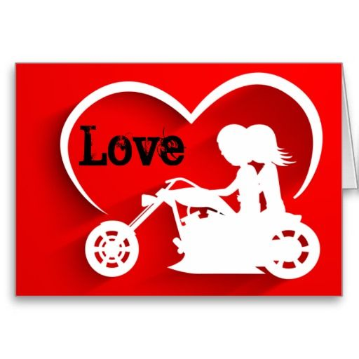 Motorcycle Couple Love Happy Valentine S Day Holiday Card Zazzle Com Wedding Postcard Motorcycle Wedding Holiday Design Card