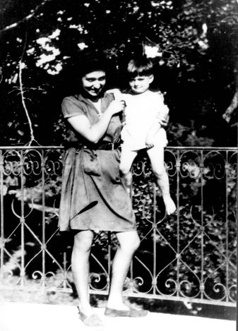 Izieu, France, A young woman with a girl from the children's home, during the war.  The children were rounded up by the Germans on 6/4/1944 and were deported to Auschwitz.