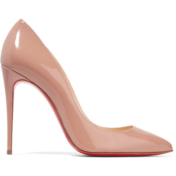 Christian Louboutin Pigalle Follies 100 patent-leather pumps (€525) ❤ liked on Polyvore featuring shoes, pumps, heels, my shoes, beige patent pumps, beige pointy toe pumps, pointed toe pumps, high heel pumps and patent leather shoes