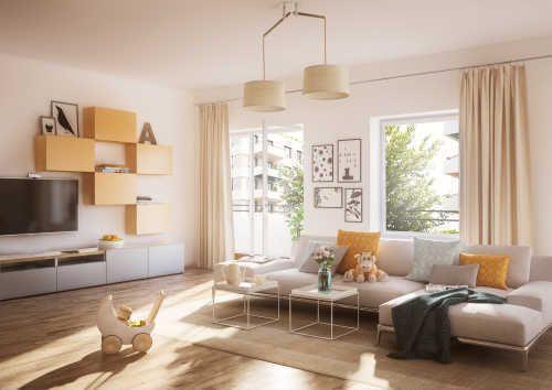 Neumodisches Wohnzimmer in Weiß und Gelb Tönen