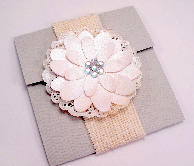 Handmade Vintage Wedding Invitations: Elegant Handmade Flower Wedding Invitation Vintage Shabby