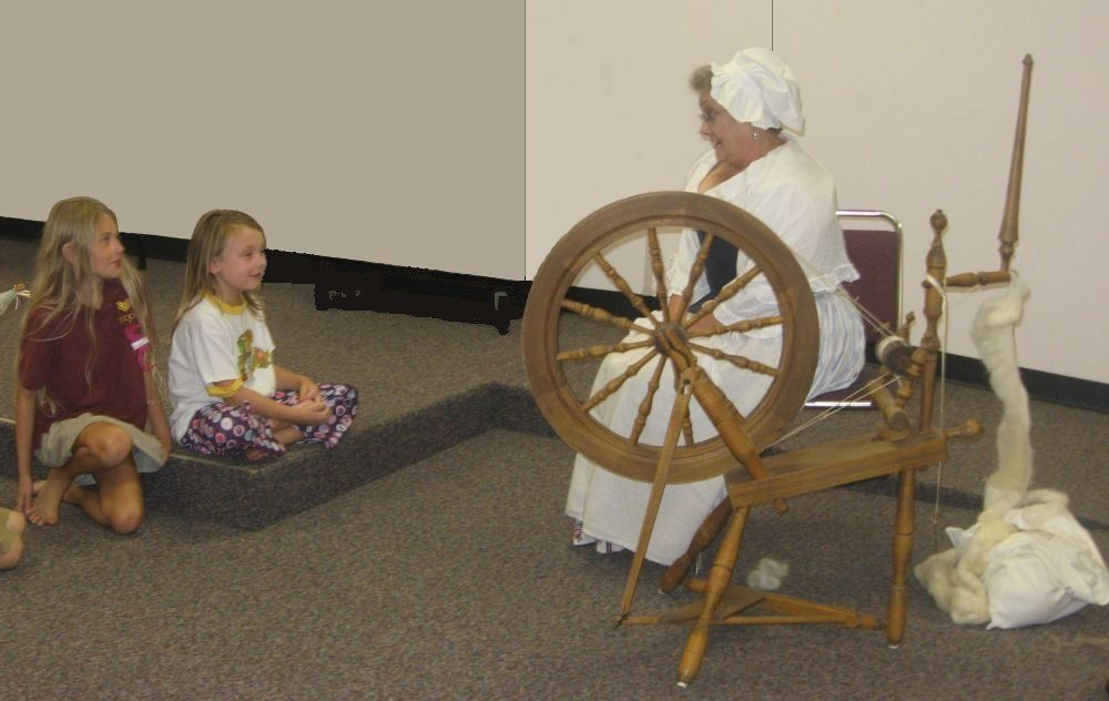 Remington and Makaela listen to stories about American history during the DAR visit to the LIbrary on Constitution Day.