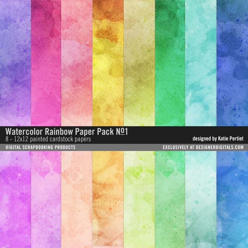 Watercolor Rainbow Paper Pack No 01 Painted Papers In A Bright