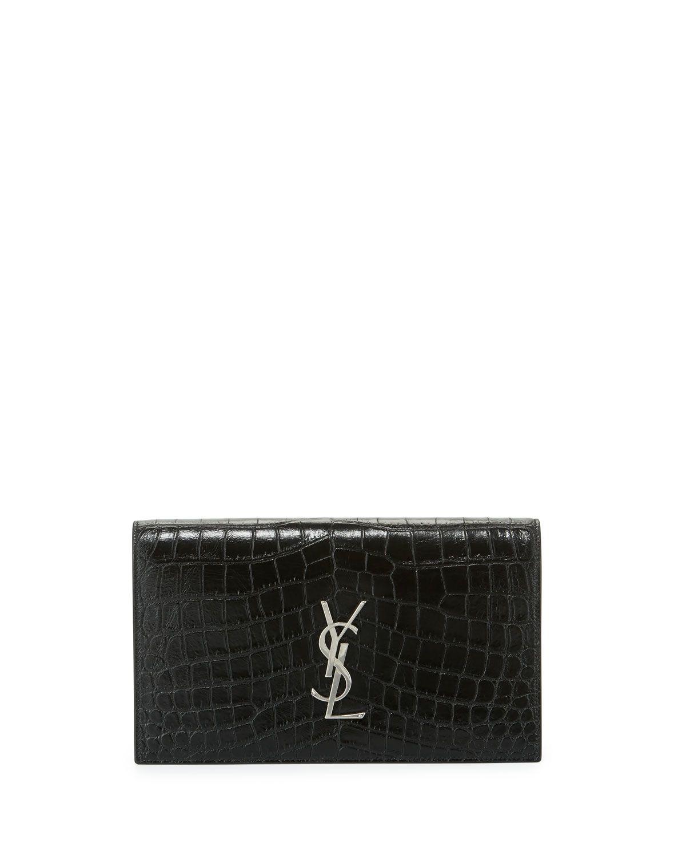 424fed92110 Yves Saint Laurent Kate Monogram Crocodile-Embossed Clutch Bag, Black,  Women's