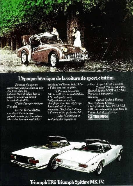 triumph tr6 spitfire convertible roadster ads. Black Bedroom Furniture Sets. Home Design Ideas