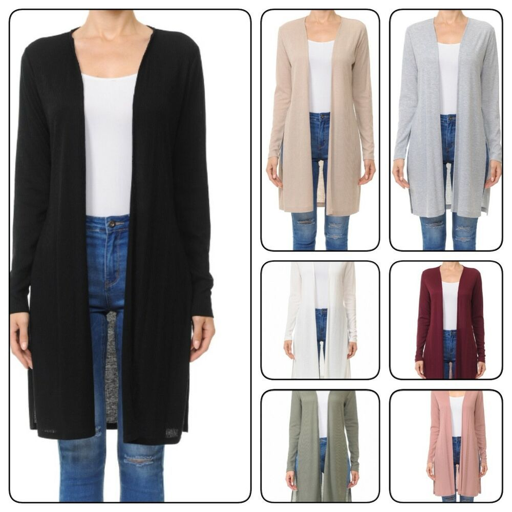 S-3XL Plus /&  Reg. WOMAN LONG SLEEVE DUSTER CARDIGAN WITH SIDE SLIT DETAIL
