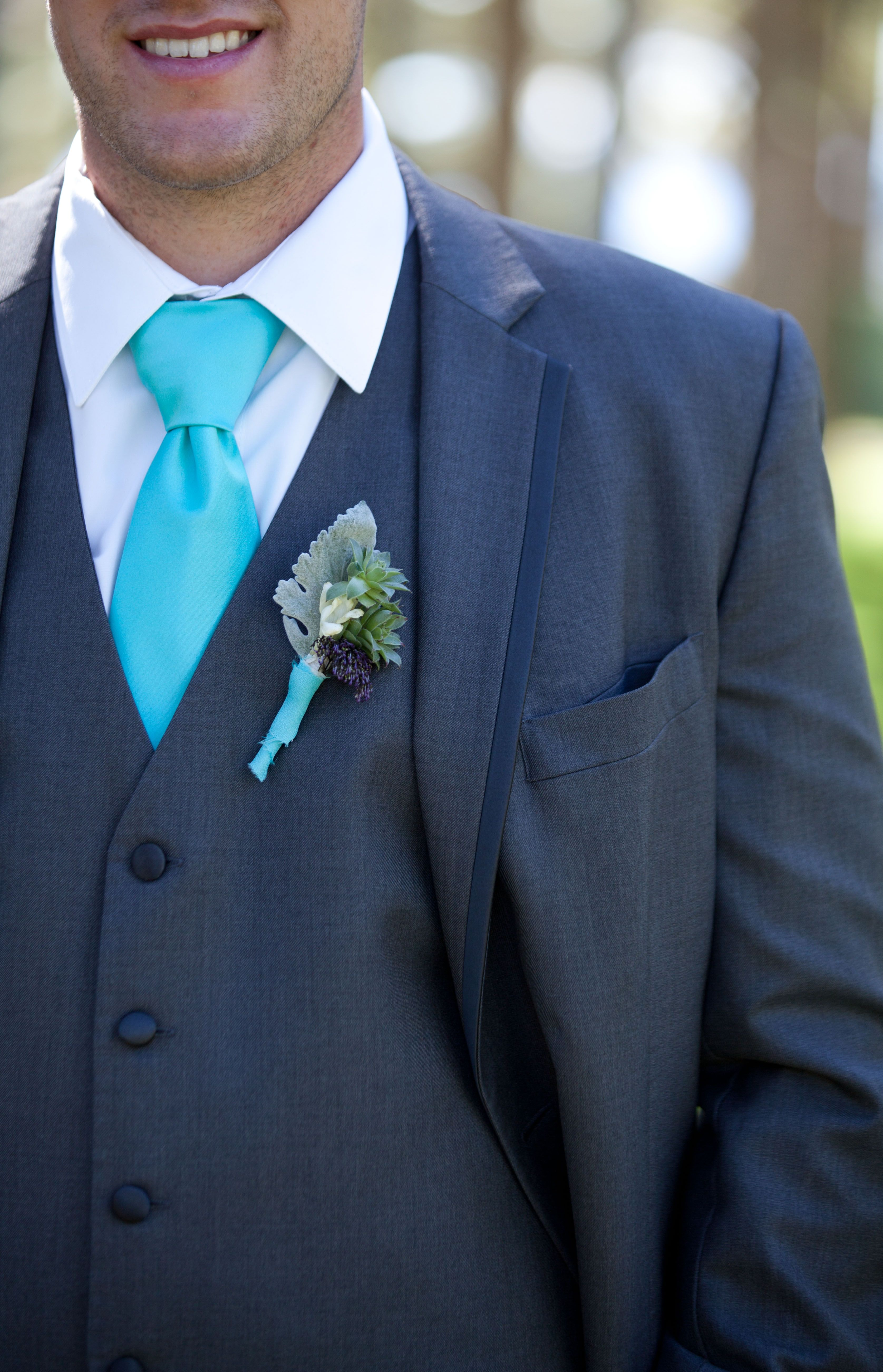 Summer in Tahoe color palette, charcoal grey tuxedo and a turquoise tie…