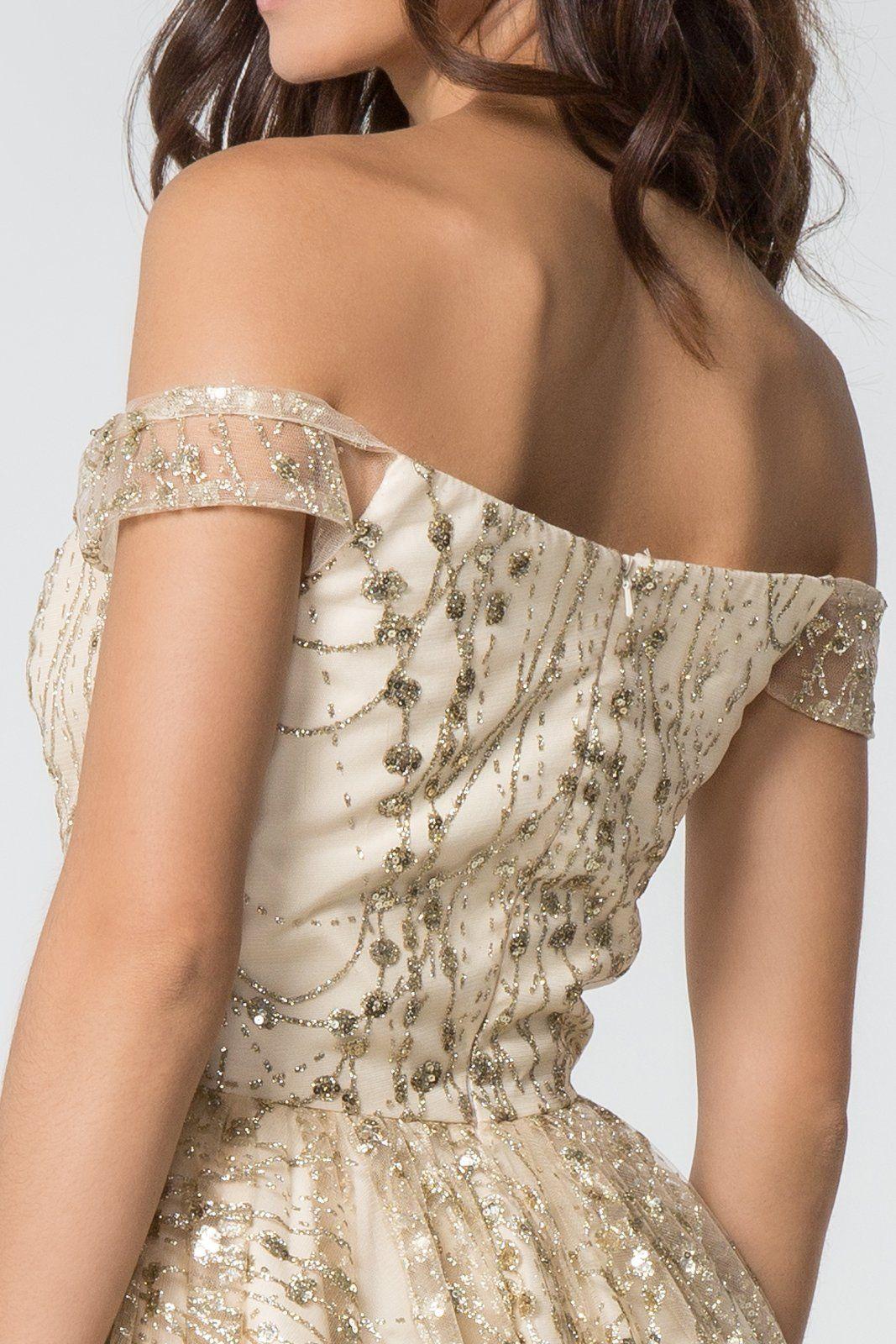 Elizabeth K - GS2833 Glitter Off-Shoulder A-Line Cocktail Dress #backlesscocktaildress