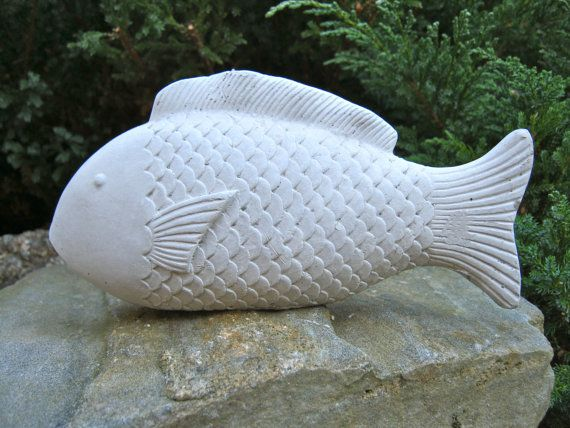 Fish statue concrete garden figure by westwindhomegarden for Fish garden statue
