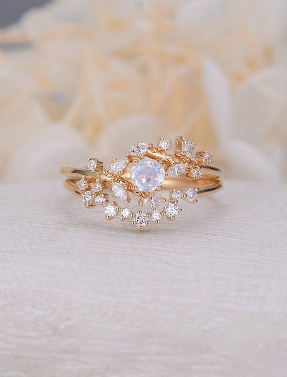 Vintage moonstone woman rose gold Diamond Cluster ring Unique engagement ring leaf wedding wo... Vintage moonstone woman rose gold Diamond Cluster ring Unique engagement ring leaf wedding women Bridal Promise Anniversary Gift for her -  -