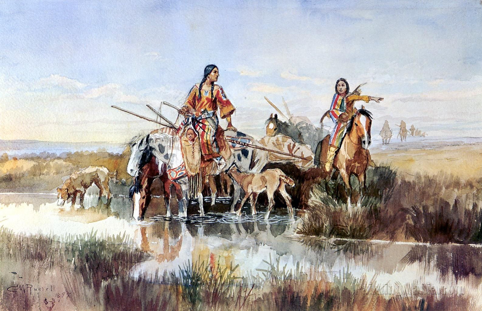 Squaws with Travois Western art, Native american art, Art
