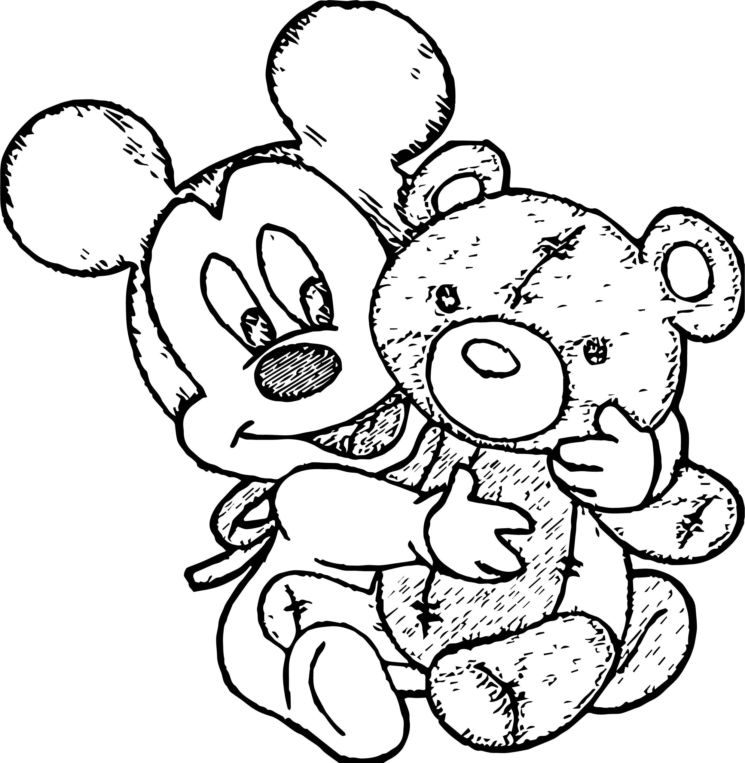 Awesome Baby Mickey Cute Bears Toy Coloring Page Baby Mickey Bear Toy Cute Bears