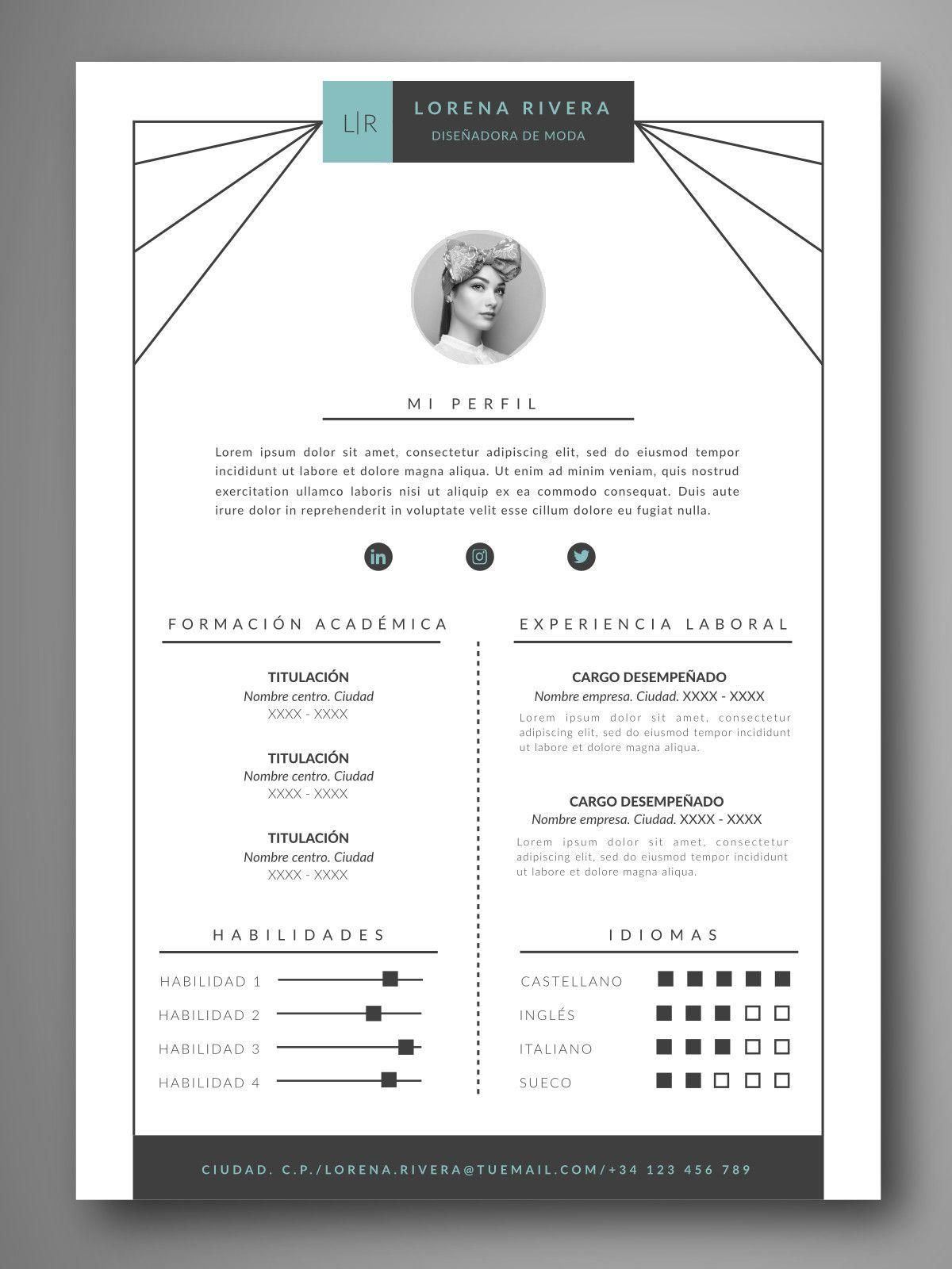 mejores plantillas curriculum creativo editable word español | I ...