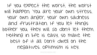 Stay focused and positive...