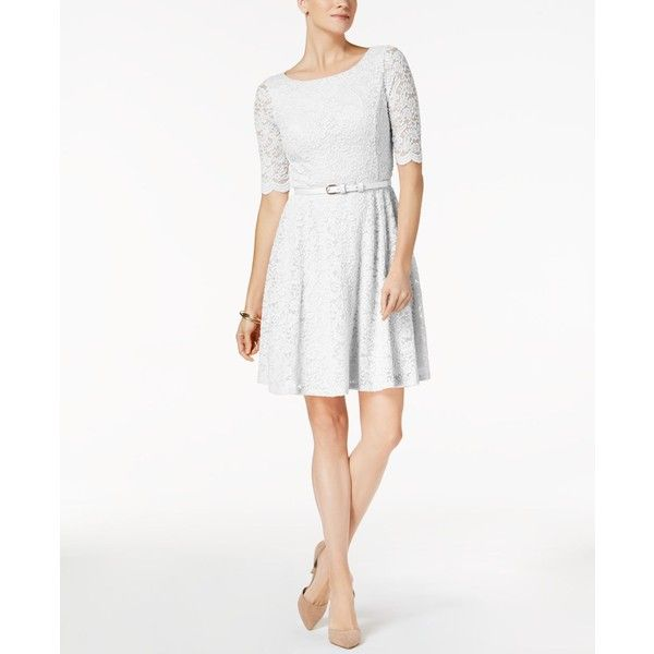 Charter Club Petite Belted Lace Dress, Created for Macy\'s ($89 ...