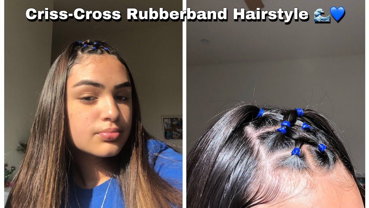 CRISS-CROSS RUBBERBAND HAIRSTYLE 🌊💙  Hair styles, Rubber band