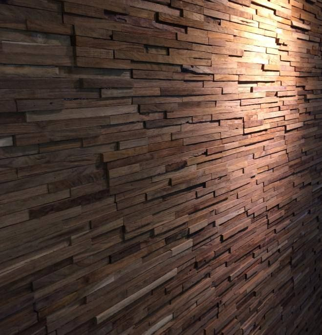 Welbie sanitair wall cladding hout om wand te bekleden sfeervol en warm voor woonkamer - Badkamer natuur hout ...